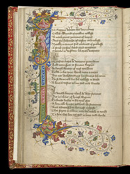 Historiated Initial And Border, In John Lydgate's 'The Lives Of Sts. Edmund And Fremund'